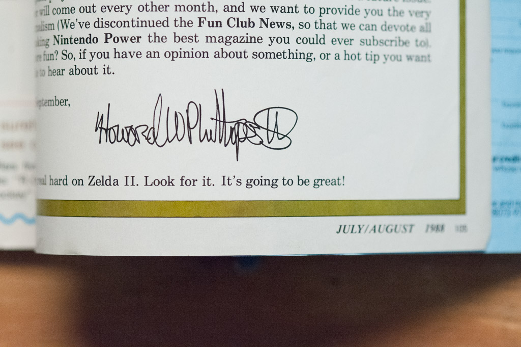 Howard Phillips' editor's letter, Nintendo Power, Issue 1